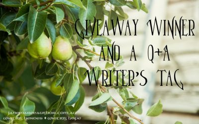 Giveaway Winner and a Q+A Writer's Tag